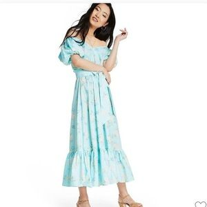 LoveShackFancy Estelle Baby Blue Floral Dress NWT